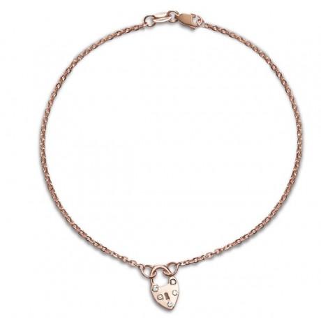 Diamond Heart Padlock Bracelet